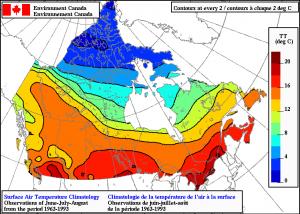 klimaat temperatuur Canada zomer