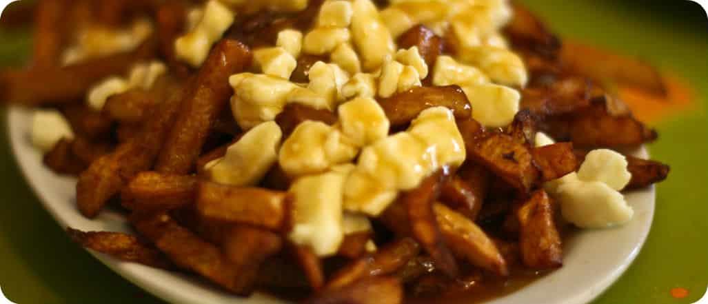 Poutine la salade Quebecoise friet gesmolten kaas en jus gerecht