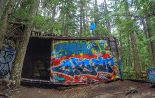 Whistler Train Wreck graffiti wagons Sea to Sky Trail
