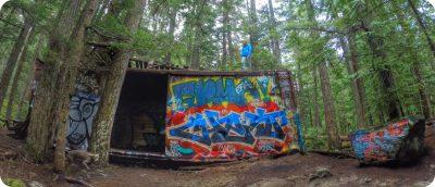 Whistler Train Wreck graffiti wagons Sea to Sky Trail