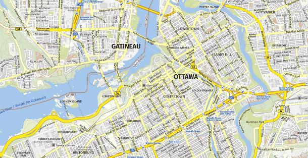 Ottawa hoofdstad van Canada stadskaart