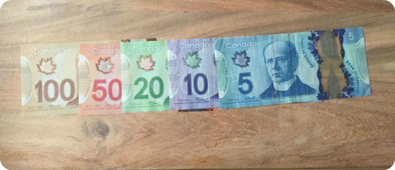 Canadees geld canadese dollar bankbiljetten